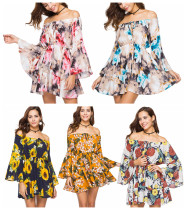 Off Shoulder Flared Sleeve Floral Dress 2275