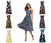 Spaghetti Strap Floral Print Tea Length Dress 80419