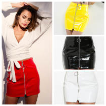 PU Leather Mini Skirt 2943