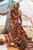Long Sleeve Vintage Boho Dress 18175