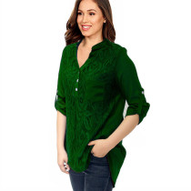 Roll Tab Sleeve Lace Panel Chiffon Blouse Green 7238