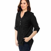 Roll Tab Sleeve Lace Panel Chiffon Blouse Black 7238