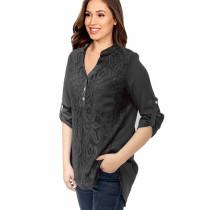Roll Tab Sleeve Lace Panel Chiffon Blouse Gray 7238