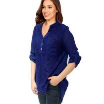 Roll Tab Sleeve Lace Panel Chiffon Blouse Blue 7238