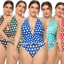 Polka Dot Plus Size Swimsuit YY18
