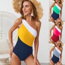 Color Block One Shoulder Swimsuit For Women 19005