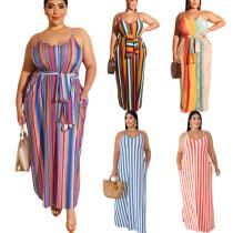 Plus Size Striped Maxi Dress 19258