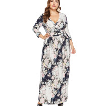 Long Sleeve Maxi Dress For Plus Size Ladies 0024