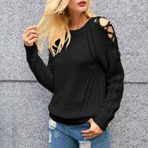 Criss-cross Shoulder Fall Sweater 5522