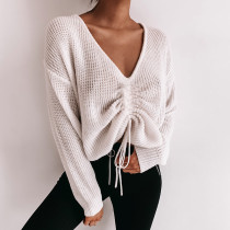 Drawstring Knot Casual V Neck Sweater 90358