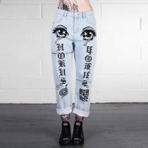 Streetwear Print Jeans Women 83297
