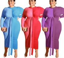 Long Sleeve Party Dress Big Size 19240P