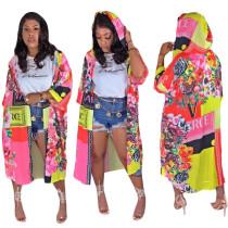 Floral Print Long Kimono Cardigan With Hood 8046