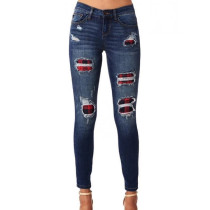 Skinny Jeans With Plaid Patch 0335