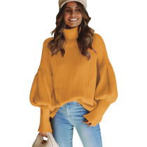 4 Colors Lantern Sleeve High Neck Sweaters 3039