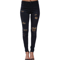 Skinny Jeans With Leopard Patch 0319