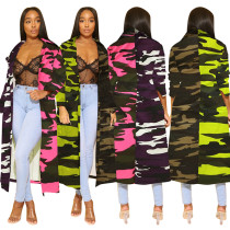 Denim Camouflage Long Trench Coat 625