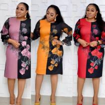 Floral Print African Design Dresses 8840