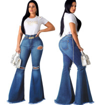 High Waist Flared Jean Pants 9025