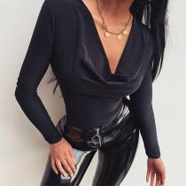Long Sleeve Bodysuit Blouse For Women 90496