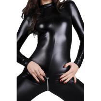 M-4XL Black Women Leather Open Crotch Jumpsuit 6776