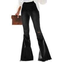 3 Colors Elastic Waist Flared Bell Bottom Jeans 9026
