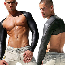 Male Leather Long Sleeves Gay Crop Tops 6630