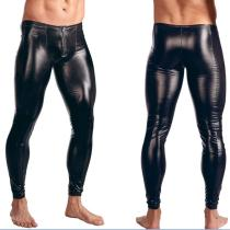 M-XXL Zipper Front Leather Men Leggings 930