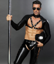 M-XXL Adult Leather Men Police Costume 965