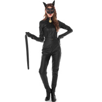 PU Leather Black Catsuit 19031