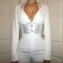 White Black Long Sleeve Corset Shirt G19562T