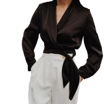 Elegant Silk Blouse Crop Top G19375T