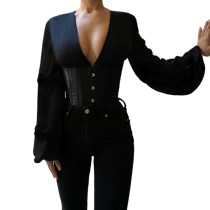 Long Sleeve Corset Blouse For Women G19611