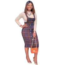 Fitted Plaid Suspender Skirt And Slim Shirt D039L