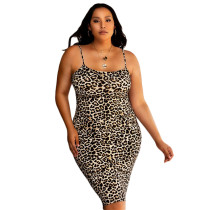 Spaghetti Strap Bodycon Leopard Print Dress Plus Size P5006