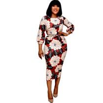 Floral Women Corporate Dresses With Belt D037L