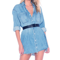 Long Sleeve Denim Shirt Dress Women 1002