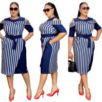 Stripe Dress For Ladies Wear In Turkey 398