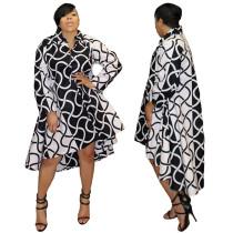 Long Sleeve Printed Casual High Low Shirt Dresses 7142