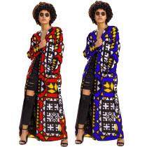 Ankara Kimono Maxi Cardigan With Sashes 7138