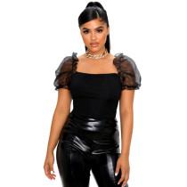 Organza Puff Sleeve Tops For Women 8104