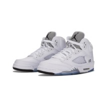 Authentic Air Jordan 5 Retro GS White silver