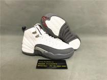 Authentic Air Jordan 12 Retro Blanc/Gris Fonce White&Dark Grey