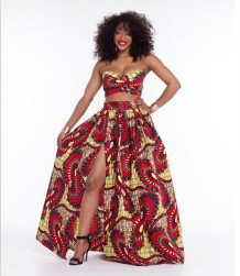 African Styles Bandeau Bra Top and Maxi Skirt 21506