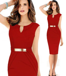 Slim Bodycon Cocktail Pencil Midi Dress 15131-1