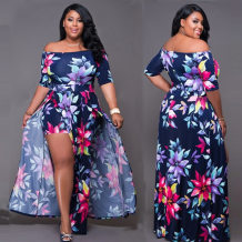 Off-Shoulder Floral Blue Split Langes Kleid 22361
