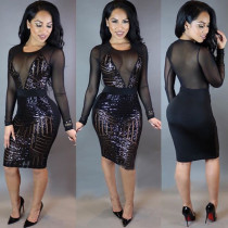 Sequins Black and Mesh Long Sleeve Bodycon Dress 20583