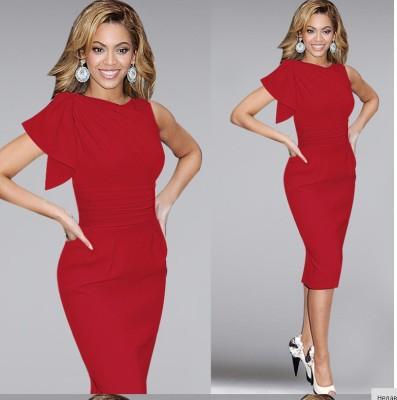 Стильная сплошная красная круглая шея с одним рукавом Среднее платье для Lady 17485-1