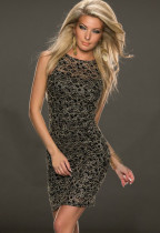 Ünlü Altın Dantel Clubwear Elbise 14346-1
