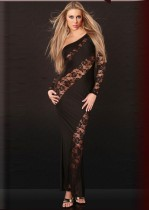 Lace Accented Sexy Long Gown 11523